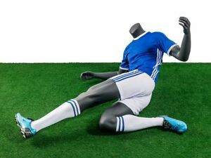 Headless Male Fiberglass Soccer Mannequin Athletic Body In Tackling Pose