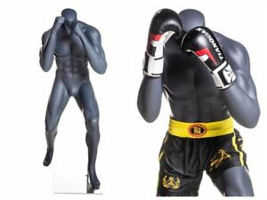 Headless Male Fiberglass Boxing Mannequin Athletic Body Metal Base Included