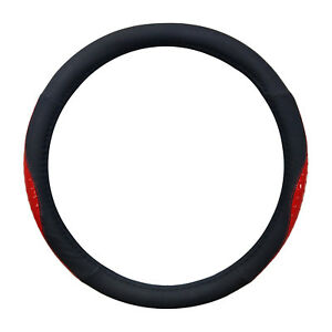 Black And Red Ostrich Shiny Style Pu Steering Wheel Cover 14 5 15 5 By Cpr
