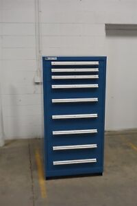 Used Stanley Vidmar 9 Drawer Cabinet 61 Tall Industrial Tool Box Storage 1318