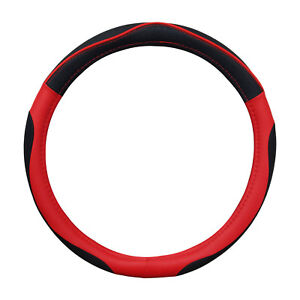 Black And Red Sporty Pu Steering Wheel Cover Universal 14 5 15 5 By Cpr