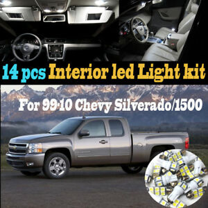 14pcs White Interior Led Light Kit Package For 1999 2010 Chevy Silverado 1500 hd