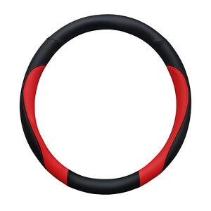 Double Sided Black And Red Sporty Steering Wheel Cover 14 5 15 5 By Cpr