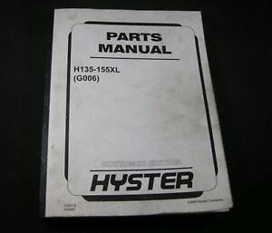 Hyster Forklift H135 155xl G006 Parts Manual Book Catalog Fork Lift Truck