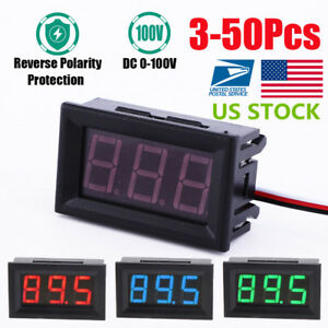 Us 3 50x Mini Red Blue Green Led Display Dc 100v Voltmeter Gauge Voltage Panel
