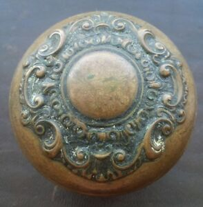 Antique Brass Bronze Victorian Door Knob Ornate And Beautiful
