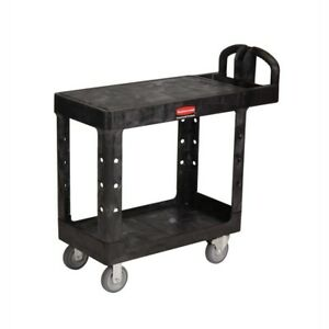 Small Rolling Utility Cart Shelf Black Wheels Kitchen Plastic Garage Transporter