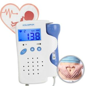 Pocket Fetal Doppler 3mhz Prenatal Baby Heart Beat Rate Monitor Backlight Gel