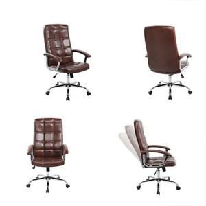 Desk Chairs Anji Executive Big Tall Thick Padded High Back Brown Leather Office