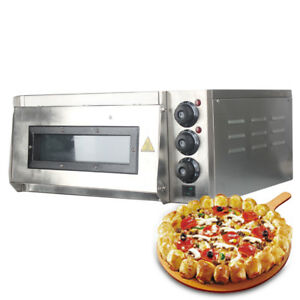 Electric Commercial 2000w Pizza Oven Single Deck Stone Stainless Steel 220v Ce