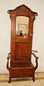 Antique Quarter Sawn Rustic Hall Tree Tall Narrow Seat Bench Early 1900 S