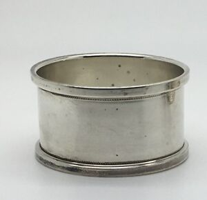 Sterling Silver Napkin Ring Holder No Monogram Applied Border Rim Dotted Edge