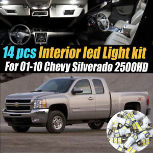 14pcs White Interior Led Light Kit Pack For 2001 2010 Chevrolet Silverado 2500hd