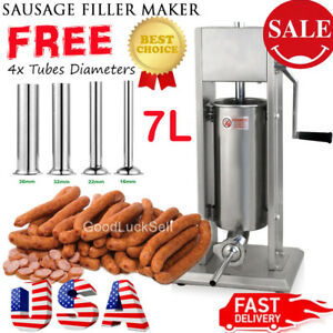 20lb 7l Stainless Steel Vertical Sausage Stuffer Commercial Restaurant Pork Meat