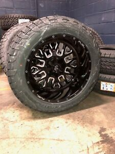 22 22x12 D611 Stroke Black Wheels 35 Fuel At Tire Package 8x180 New Gmc Chevy