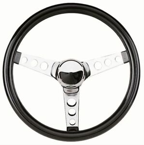 Mooneyes Black Vinyl Steering Wheel 13 5 With Holes In Spokes Rat Fink Rod Gm