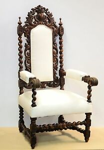21056 Antique Carved French Renaissance Barley Twist Hunt Arm Chair