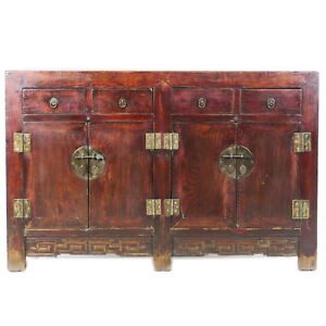 Antique Chinese Sideboard Buffet Cabinet 53 Long Reddish Brown Lacquer