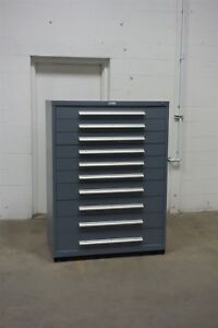 Used Nu era 10 Drawer Cabinet Industrial Tool Storage 45 Wide 1330 Vidmar