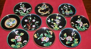 Set Of 10 Antique Chinese Cloisonne Enamel On Bronze Plates