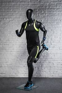 Male Full Body Running Sports Mannequin Matte Black Egg Head W Base
