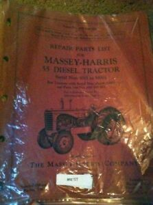 Massey Harris 55 Diesel Tractor Parts Manual 1001 10001