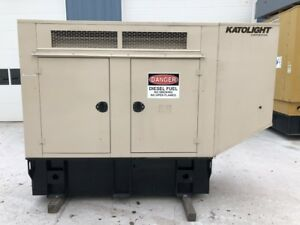 __30 Kw Katolight Generator Set 110 Gallon Base Fuel Tank Sound Attenuated