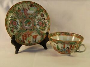 Antique Chinese Rose Medallion Cup And Saucer 1859 1890 Asian Porcelain