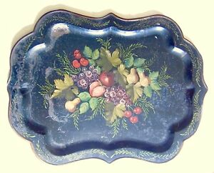 Tole Tray Hand Painted Antique 1800s New England Estate Find 26 In X 19 In