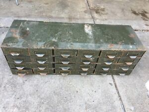 Metal Cabinet Industrial File Library Storage Repurpose 24 Drawer Catalog Parts