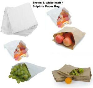 Brown Kraft White Sulphite Strung Paper Food Bags For Sandwiches Groceries Etc