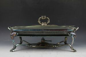 Silver Chafing Dish With Alcohol Burner Neoclass