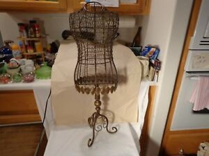 Rare Beautiful Handcrafted Ornate Wire Female Dress Mannequin On Stand Nr