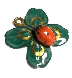 Antique Signed Ens Volkstedt Porcelain Germany Ladybug Pendant Jewelry