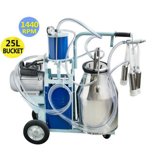 Cow Milker Electric Piston Milking Machine For Cows Farm 25l Bucket Usa