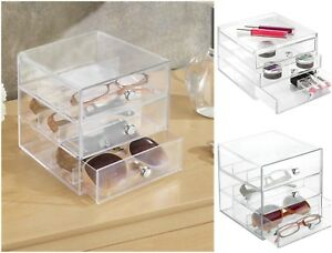 Sunglasses Organizer For Glasses Watches Eyeglass Storage Holder 3 Drawers Clear