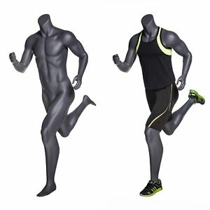 Male Full Body Headless Jogging Athletic Mannequin W Base Matte Grey