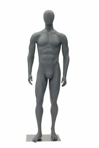 Male Full Body Sports Athletic Mannequin Muscular Neutral Pose Matte Grey