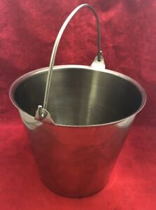 Vollrath Stainless Steel Utility Pail 12 Qt Milking Pail W handle 58130