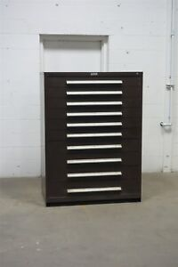 Used Nu era 10 Drawer Brown Cabinet Industrial Tool Storage 45 Wide 1351 Vidmar