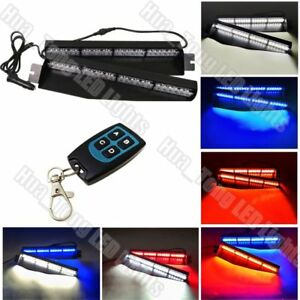 34 Led Remote Control Warning Strobe Red White Blue Dash Visor Split Deck Light