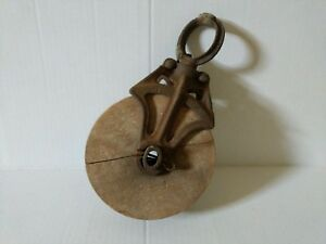 Vintage Cast Iron And Wood Pulley Single Nautical Barn Loft Decor