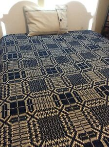 Antique Lindsey Woolsey Overshot Coverlet 72 X92 1890 S Navy Indigo Blue Sale