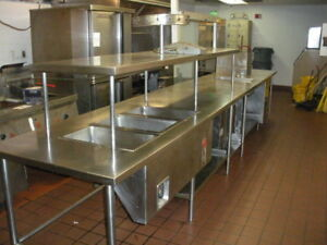 18 Ft Stainless Steel Prep Table Overhead Shelf Food Warmer Sink Cabinet Tray