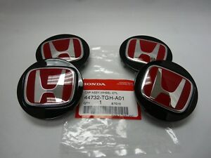 Genuine Honda Type R Black Wheel Center Caps W Red h set Of 4 44732 tgh a01