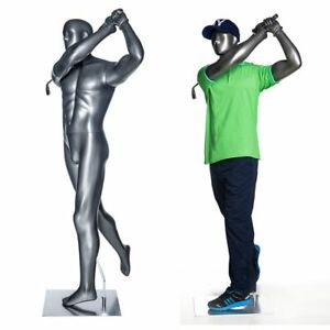 Full Body Male Golf Mannequin Glossy Grey Base Included