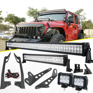 For Jeep Wrangler Jk 52 700w 22 Led Light Bar mount Bracket 18w Pods Sahara