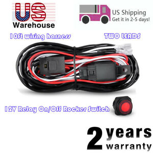Universal Wiring Harness Kit Led Light Bar Fog Light 40a 12v Relay Fuse Switch