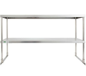 Stainless 12 X 60 Steel Work Prep Table Commercial Double Deck Overshelf Shelf