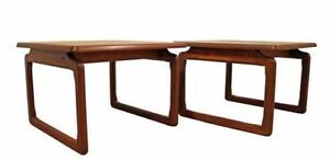 Pair Of Mid Century Danish Modern Tarm Stole Teak Free Space Side End Tables